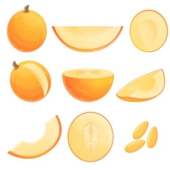 Melonenset im cartoon-stil