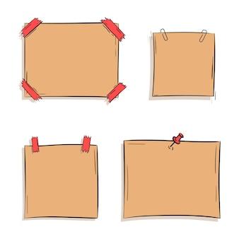 Memo klebrig und papierblatt im handgezeichneten doodle-stil