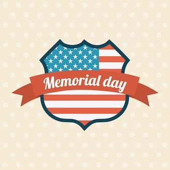 Memorial day-design über beige hintergrundvektorillustration