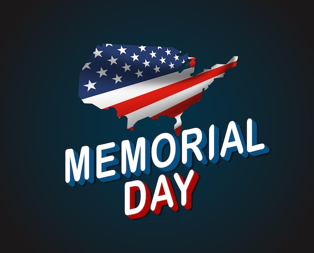 Memorial day grußkarte. winken der nationalflagge der vereinigten staaten von amerika in der perspektive