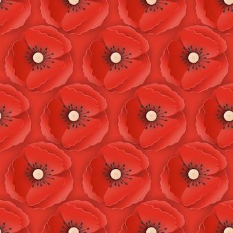 Memorial day nahtlose muster mit papier ausgeschnitten rote mohnblumen. mohnblumen-hintergrund-symbol des stück-erinnerungs-anzac-tages. vektor-illustration
