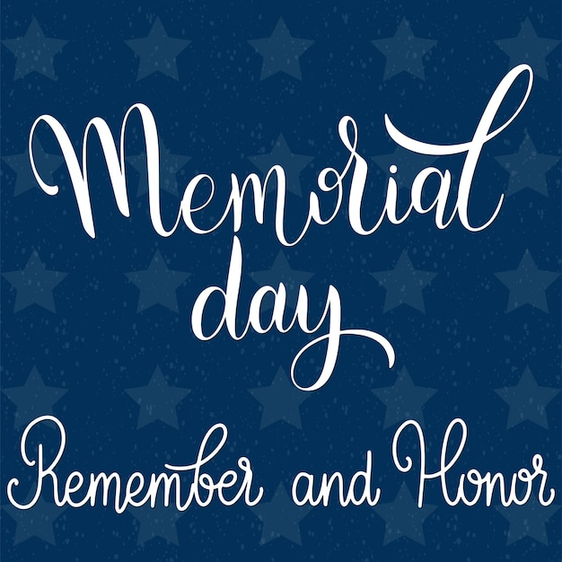 Memorial day-schriftzug. erinnere dich und ehre. elemente für einladungen, poster, grußkarten