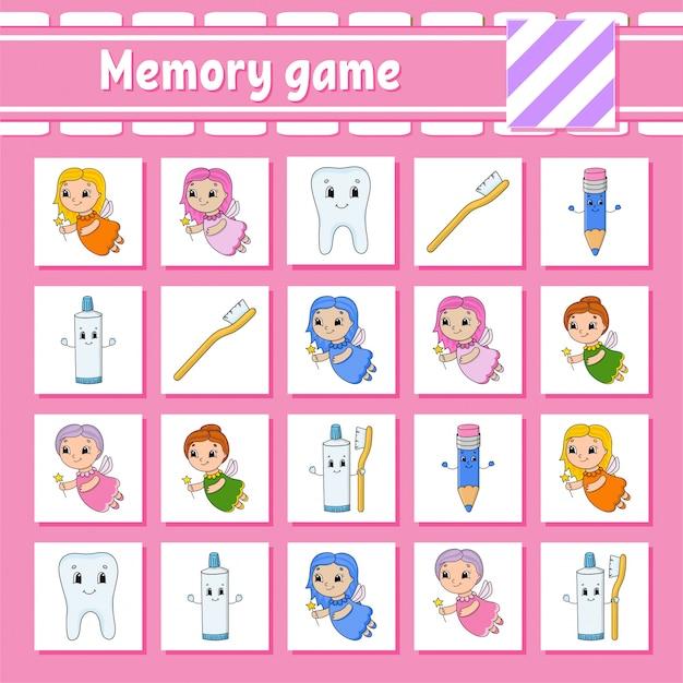 Memory-spiel für kinder. arbeitsblatt zur bildungsentwicklung.