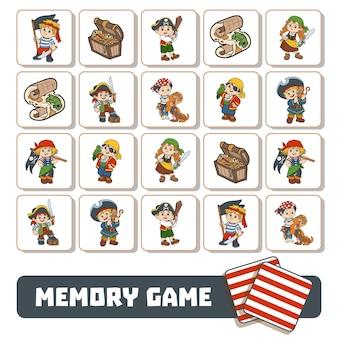 Memory-spiel für kinder, karten mit piratenfiguren und gegenständen