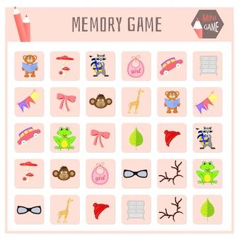 Memory-spiel für kinder, tierkarten grafiken
