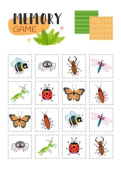 Memory-spiel mit cartoon-käfern.