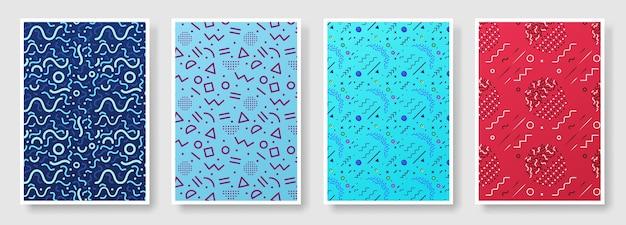 Memphis-artplakatsatz, nahtloser hintergrund verfügbar in der musterplatte