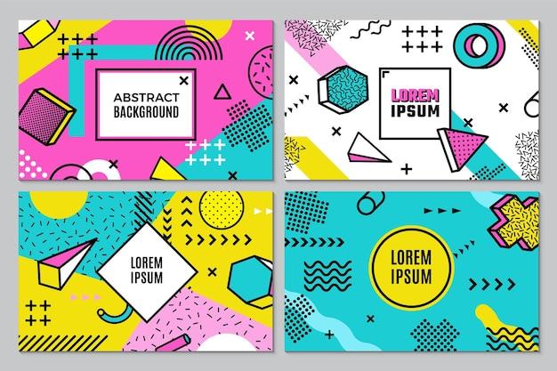Memphis-banner. abstrakter geometrischer hintergrund, funky pop-art-stil-vektor-flyer-vorlage. zeitgenössisches vorlagenplakat, musterfarbene futuristische illustration