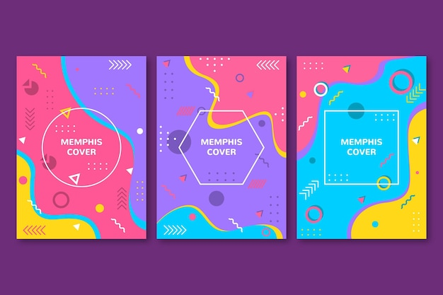 Memphis design cover kollektion Premium Vektoren