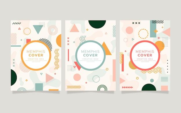 Memphis design cover kollektion Kostenlosen Vektoren