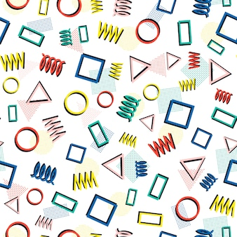 Memphis geometrische nahtlose muster. abstrakte durcheinanderbeschaffenheiten. dreieck.