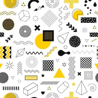 Memphis nahtlose muster abstrakte geometrische formen linie kreis funky retro 90er jahre stilelementes