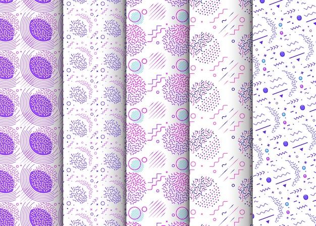 Memphis nahtlose muster in farbfelder panel