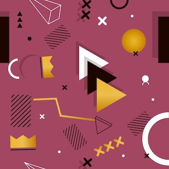 Memphis nahtloses muster von geometrischen formen für gewebe und postkarten. hipster-poster, saftiger, heller farbhintergrund. kreativer abstrakter geometrieform-modedruck.