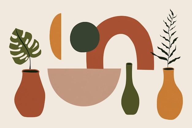 Memphis-pflanzenvektor im vasen-erdton
