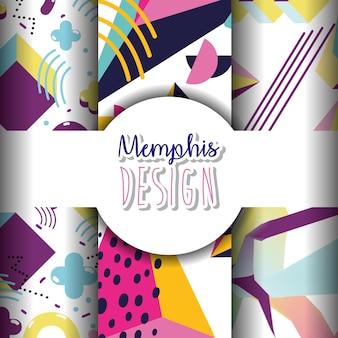 Memphis-schablonen und buntes design der hintergründe