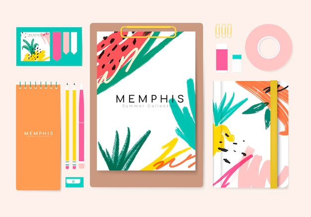 Memphis sommer-briefpapier-kollektion