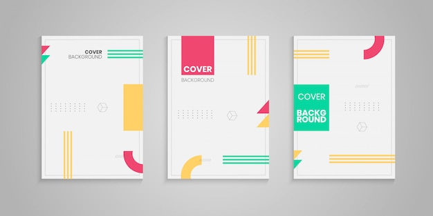 Memphis style cover template set