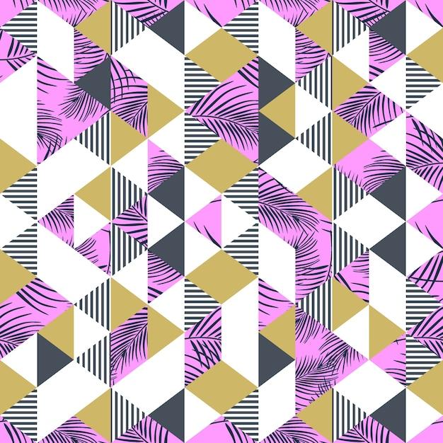 Memphis trendige palmblätter und exotisches dreieck