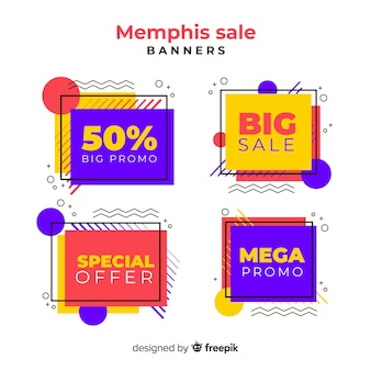 Memphis-verkauf-banner-sammlung