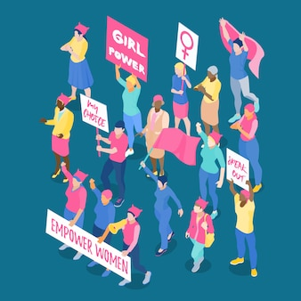Menge protestierender weiblicher feministinnen mit plakaten und flaggen isometrische vektorillustration