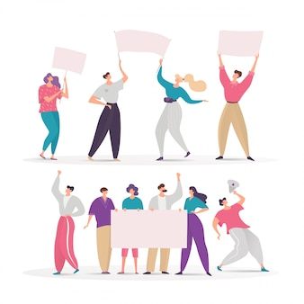 Menge von demonstrantenleuten, die an demonstration auf charaktergruppen-karikaturillustration teilnehmen, lokalisiert auf weiß. männer, frauen auf der straße demonstrieren für ihre rechte mit leerem plakat. protest