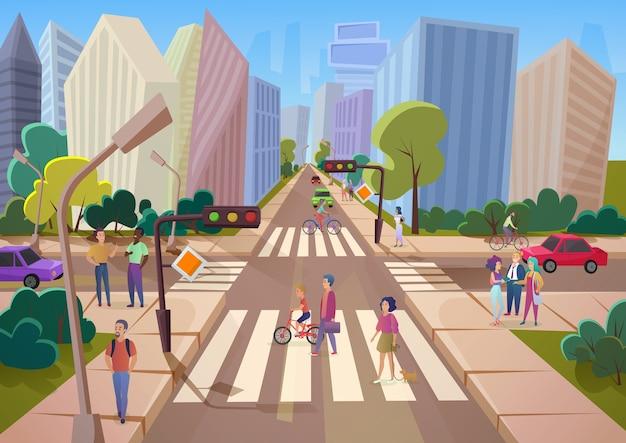 Menge von karikaturleuten, die auf der modernen stadtstadt der stadt gehen.