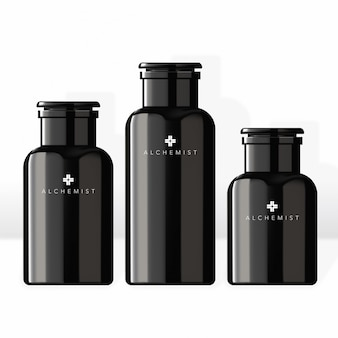 Mens jar & stopper für kosmetik beauty medical haircare healthcare hautpflege spa essenz in noir black modern conochrome style