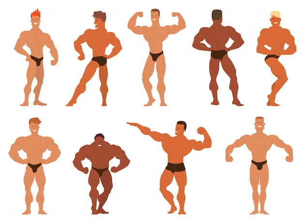 Mens physik bodybuilder illustration.