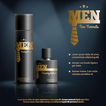 Mens shaving cosmetics realistische zusammensetzung