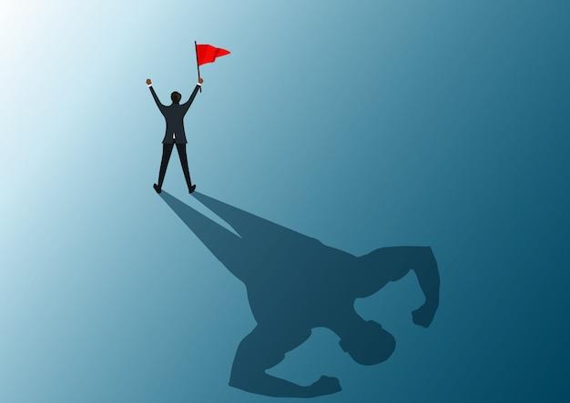 Mensch, der rote fahne zum erfolg mit starkem illustrator des schattenmannes hält.