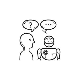 Mensch fragt nach künstlicher intelligenz handgezeichnete umriss-doodle-symbol. ki-kommunikation, gesprächskonzept