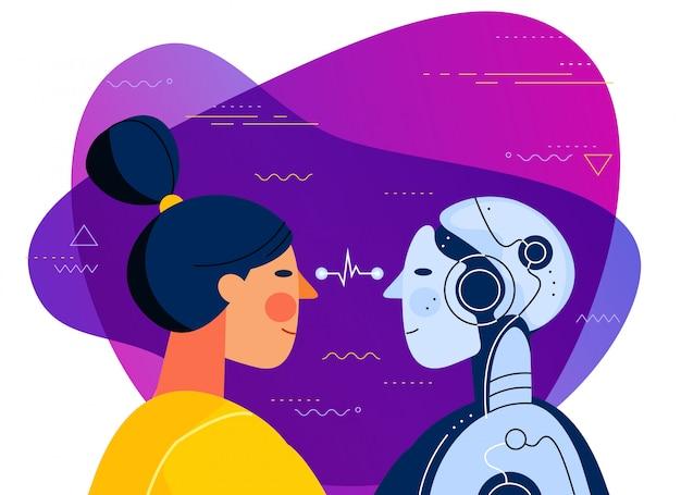 Mensch gegen modische illustration des konzeptes der künstlichen intelligenz