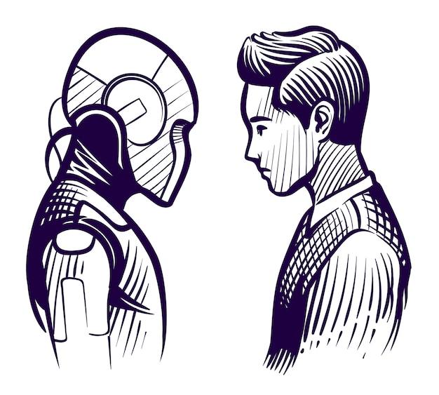 Mensch gegen roboter. konflikt zwischen künstlicher intelligenz und menschlichem verstand. mitarbeiter ersatz skizze vektorkonzept