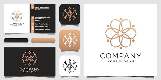 Mensch kombinieren blume mit strichgrafikstil, logo und visitenkartenentwurf.