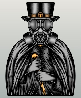 Mensch trägt gasmaske und dunklen umhang.