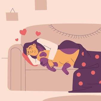 Mensch und begleithaustier, das auf der couch schläft
