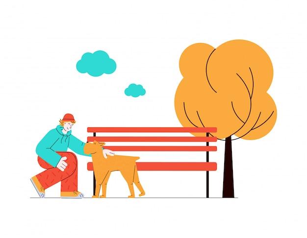 Mensch und hund zusammen in der natur - cartoon-haustierbesitzer streichelt sein tier