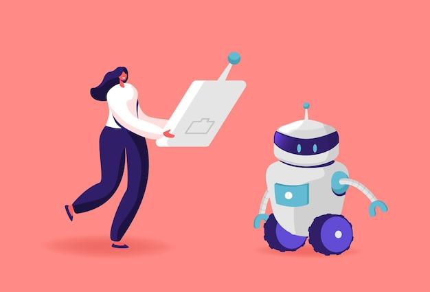 Mensch und roboter illustration. winzige weibliche figur tragen sie eine riesige fernbedienung, um den roboter in bewegung zu setzen