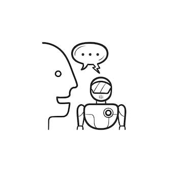 Mensch- und roboterkommunikation und sprechblase handgezeichnetes umriss-doodle-symbol. diskussion, verhandlungskonzept