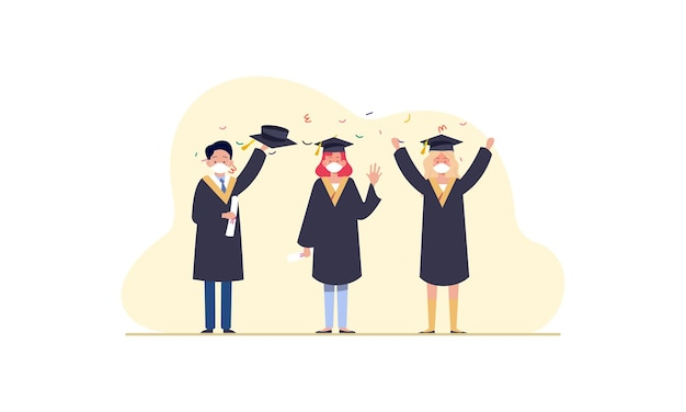 Menschen absolventen tragen medizinische masken illustration