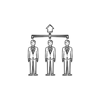Menschen, agenten handgezeichnete umriss-doodle-vektor-symbol. gruppe von personen, belegschaftsskizzenillustration für print, web, mobile und infografiken isoliert auf weißem hintergrund.