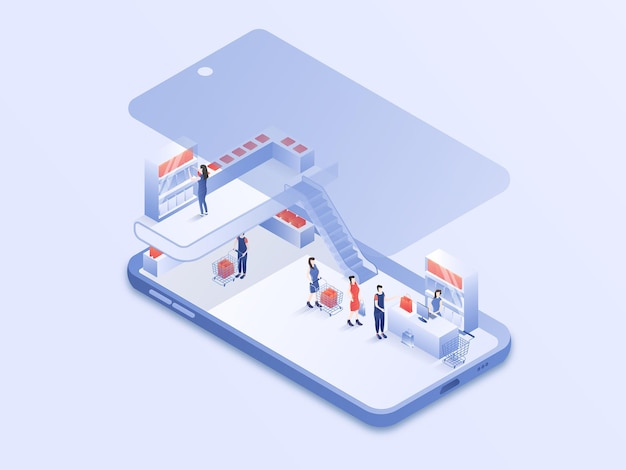 Menschen aktivität des online-shoppings auf moderner smartphone-design isometrische 3d-vektor-illustration