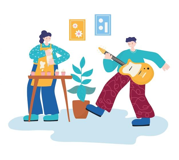 Menschen aktivitäten, frau backen süße cupcakes mit sahne und mann spielt gitarre