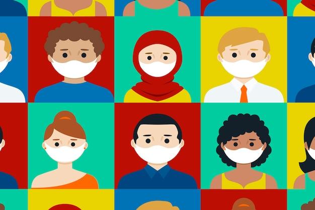 Menschen aller nationalitäten tragen masken sammlung