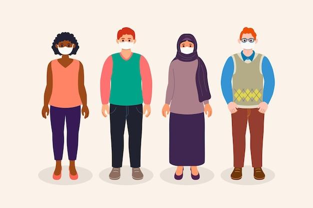 Menschen aller nationalitäten tragen masken