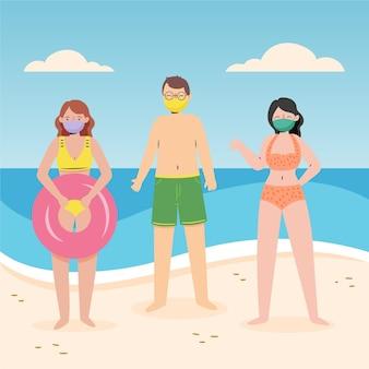 Menschen am strand tragen gesichtsmasken konzept