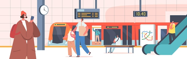 Menschen am u-bahnhof mit zug, rolltreppe, karte, uhr und digitalanzeige. männliche und weibliche charaktere an der öffentlichen u-bahn-plattform, stadtpendler, stadtverkehr. cartoon-vektor-illustration