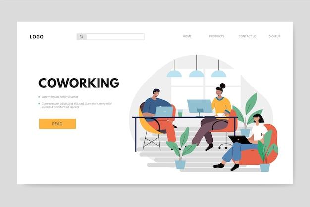 Menschen an ihrem arbeitsplatz coworking landing page