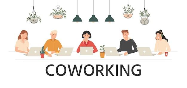 Menschen arbeiten beim coworking zusammen. teamarbeit, arbeitsbereich für teams und cartoon-illustration für mietarbeitsplätze. geschäft zusammen coworking, charakter teamwork büro